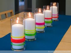 Neon Lights - Easy Weekend Projects to Try This Summer on HGTV -- its painted with nail polish ! Weekend Projects, Projects To Try, Craft Projects, Sewing Projects, Neon Party, 80s Party, Neon Lighting, Decorating Tips, Summer Decorating