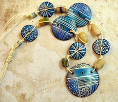 Polymer Clay necklace combined with African Sandcast Beads