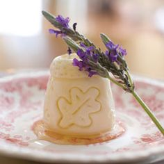 Lavender Panna Cotta Thimbles ~ Creamy panna cotta molded in the shape of a thimble & infused with lavender... a delicacy served at any tea / Recipe & Thimble download at site