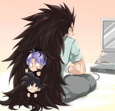 DBZ Trunks and Goten hide in Raditz hair lol