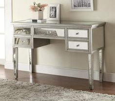 MIRRORED CONSOLE TABLE | This Console Table With Drawers Make Narrow  Entryway And Hall Decor Feel