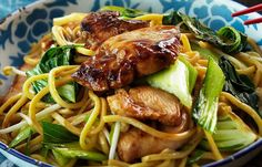 Kip Teriyaki met Mie - Gratis recepten via Receptenbundel. Spicy Recipes, Clean Recipes, Chicken Recipes, Cooking Recipes, Healthy Recipes, Mie Noodles, Soba Noodles, Good Food, Yummy Food