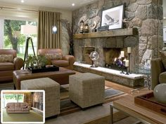 Candice Olson living room -- love the fireplace