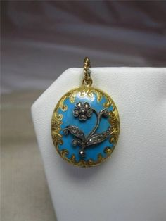 Locket-Rose-Cut-Diamond-18K-Enamel-Antique-Victorian-Mourning-Jewelry-c1860