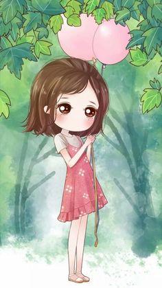 cute girl with her baloon Kawaii Chibi, Cute Chibi, Kawaii Cute, Background Images Wallpapers, Cute Cartoon Wallpapers, Kawaii Illustration, Chibi Girl, Anime Dolls, Girl Wallpaper
