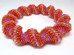 Tangerine Dream Cellini Spiral Beadwoven by littlestonedesign, $49.00