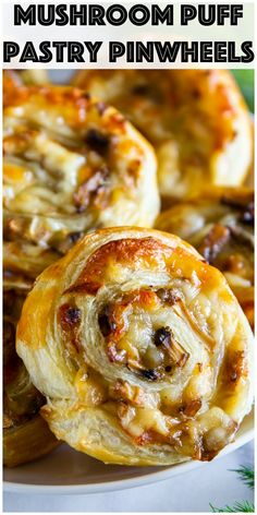Cheesy Mushroom Pinwheels Cheesy puff pastry pinwheels stuffed with a delicious mushroom and mozzarella cheese filling. It's the perfect appetizer for any occasion. Puff Pastry Recipes Savory, Puff Pastry Appetizers, Mushroom Appetizers, Pinwheel Appetizers, Pinwheel Recipes, Appetizer Recipes, Simple Appetizers, Recipes Dinner, Recipes With Puff Pastry