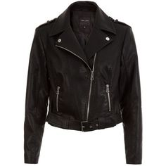 New Look Black Leather-Look Belted Biker Jacket ($51) ❤ liked on Polyvore featuring outerwear, jackets, casacos, tops, black, vegan leather jacket, zip front jacket, vegan biker jacket, vegan leather moto jacket and long sleeve jacket