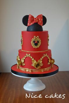 Red and gold Minnie cake - cake by Nice Cakes Red and gold Minnie cake – cake by Nice Cakes