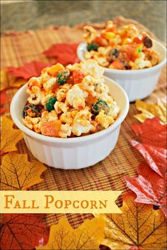Fall Popcorn – This quick and easy popcorn recipe takes only a few minutes to make with candy corn, and the result is a delicious fall snack!