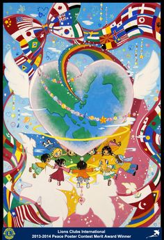 Merit Award Winner, Ami Hirai, from Japan (Matsue Aoi Lions Club) - Lions Clubs International Peace Poster Contest Graphic Design Lessons, Graphic Design Art, Peace Drawing, Peace Poster, World Icon, Jr Art, Oil Pastel Drawings, Art Competitions, World Peace