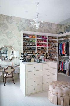 Walk in closet (different colors)  Notice the makeup/hair vanity