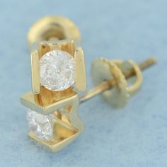 0.45 CT TDW I1-I2 Round Diamond 14k Solid Yellow Gold Stud Screw Back Earrings