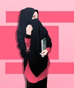Hijabi Girl, Girl Hijab, Muslim Girls, Muslim Couples, Muslim Pictures, Film Anime, Hijab Drawing, Hijab Style Dress, Islamic Cartoon