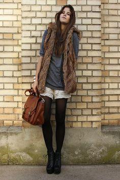 fur vest + lace shorts + tights = mismatched adorable