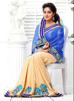 Deepika Singh Latest Blue And Cream Silky With Satin Half N Half Saree Bollywood Sarees Online, Buy Sarees Online, Bollywood Fashion, Bollywood Actress, Beautiful Girl In India, Beautiful Saree, Beautiful Places, Indian Beauty Saree, Indian Sarees