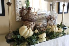 Autumnal Atmosphere By The Sea: Candles, Pine Cones, Pumpkins, Seashells