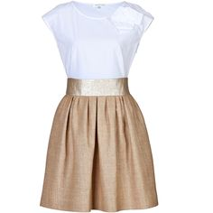 PAULE KA Mixed-Media Dress ($555) ❤ liked on Polyvore featuring dresses, vestidos, short dresses, white dress, white cotton dress, white full skirt, cap sleeve dress and mini dress