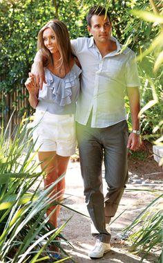 ruffle top & white shorts