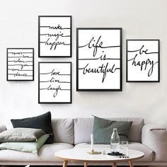 Be Happe Quote Canvas Art Print Poster, Wall Picture for Home Decoration, Life Is Beautiful Letters Art Wall Print Wall Prints, Canvas Art Prints, Canvas Wall Art, Poster Prints, Poster Wall, Canvas Frame, Narrow Living Room, Canvas Art Quotes, Minimal Living