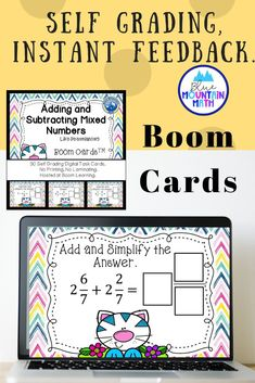 Boom Cards™ are a great way for students to practice every day skills In this 30- card deck, students practice adding and subtracting mixed numbers with like denominators. This set of Boom Cards features different Digital Self-Checking Task Cards. (No printing, cutting, laminating, or grading!)