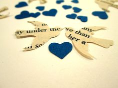 Book Page Bird Confetti  & Blue Mini Heart Confetti Vintage Wedding