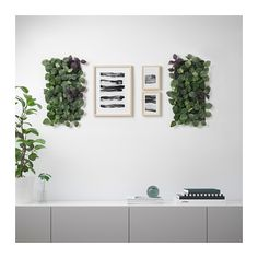 IKEA - FEJKA, Artificial plant, wall mounted, in/outdoor green/lilac, Liven up your living space with greenery by decorating your walls with the artificial plant panel. The plant wall panels are easy to connect with a simple click-solution. Artificial Plants And Trees, Artificial Plant Wall, Artificial Flowers, Decoration Ikea, Decoration Plante, Ikea Plants, Indoor Plants, Indoor Outdoor, Garden Plants