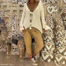 Women's V Neck Long Sleeve Knitted Pullover Jumper Sweater Casual Tops Lot Loose Knit Sweaters, Casual Sweaters, Cotton Sweater, Pullover Sweaters, Sweaters For Women, Knitting Sweaters, Casual Tops, Fall Chic, Long Sleeve Sweater