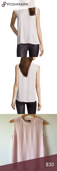 """{Vince} NWOT Blush Crepe Blouse Blush Pink Crepe Zip Shoulder Sleeveless Hi-Low Hem Blouse. Adds a fashion forward touch to daily sophistication with a partial zipper shoulder. Lightweight, semi sheer crepe.  Rounded neckline. Polished silvertone partial zip shoulder. 19"""" pit to pit. 25"""" shoulder to bottom of hem. 100% rayon. NWOT. Protective plastic still on zipper. Vince Tops Blouses"""
