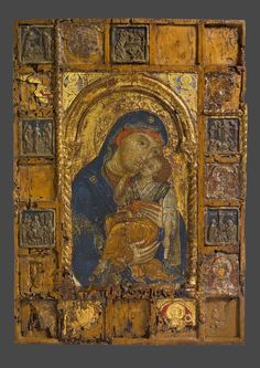 Icon of the Virgin and Child, Church Feasts, and Saints Byzantine Icons, Byzantine Art, Russian Icons, Russian Art, Religious Icons, Religious Art, Madonna, Paint Icon, Google Art Project