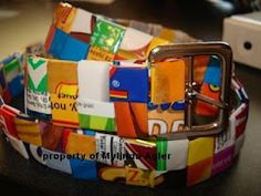 Make things from your candy and chip bags like this WRAPPER BELT
