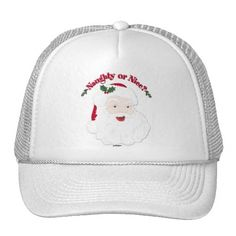 Vintage Style Santa Naughty or Nice? Trucker Hat   •   This design is available on t-shirts, hats, mugs, buttons, key chains and much more   •   Please check out our others designs at: www.zazzle.com/ZuzusFunHouse*