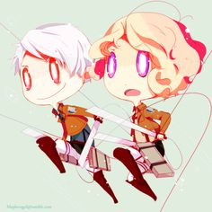 maplevogel:  Who has been watching Attack on titan recently? Yup. Me.XD so have some cute prucan snk cross-over chibi.:3 going back home probably tomorow and talk to my internet provider again to see if that internet connection thing can be arranged. LOVE YOU ALL!!!