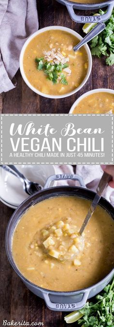 This healthy Vegan White Bean Chili is so hearty and filling even the carnivores will be asking for more! This creamy chili is gluten-free and dairy-free and it's loaded with green chiles potatoes corn white beans and just the right amount of kick. Chili Recipes, Soup Recipes, Whole Food Recipes, Vegetarian Recipes, Cooking Recipes, Healthy Recipes, Vegan Bean Recipes, Kitchen Recipes, Cooking Tips