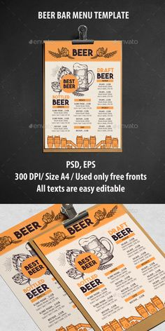Alcohol Menu Template - Food Menus Print Templates Download here : https://graphicriver.net/item/alcohol-menu-template/16961093?s_rank=264&ref=Al-fatih