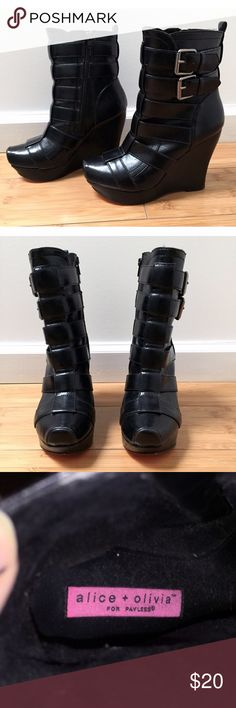 """Alice + Olivia for Payless Buckled Wedge Boots Size 6. 4"""" high. Signature pink sole. Functional zipper inside leg for easy on and off. Fits true to size. Gently used, only worn two or three times. Alice + Olivia x Payless Shoes Heeled Boots"""