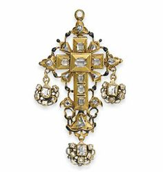 A 17TH CENTURY DIAMOND RELIQUARY CROSS PENDANT   The square section cross with pierced scrolling frame, set with vari-sized table & rose-cut diamonds & traces of black & white enamel detailing, the reverse partly hinged, opening to reveal a compartment, the cover with black enamelled & engraved symbols, suspending three scalloped pendent drops the obverse diamond-set, the reverse with painted monochrome enamel flowerhead design, circa 1650