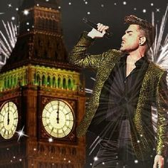 Queen & Adam singing New Years Eve in London by Big Ben 2014