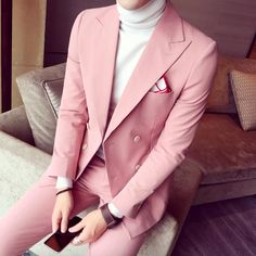 Spring Men Suits For Wedding Korean Fashion 3 Pieces Mens Pink Double Breasted S. - Spring Men Suits For Wedding Korean Fashion 3 Pieces Mens Pink Double Breasted S… , - # Pink Prom Suit, Pink Suit Men, Prom Tuxedos Pink, Korean Fashion Trends, Korean Street Fashion, Fashion Ideas, Mens Suit Vest, Mens Suits, Terno Slim Fit