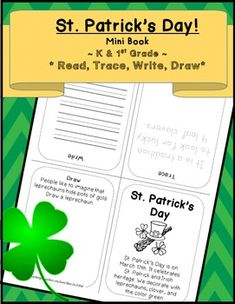 St. Patrick's Day! Mini Book {Kindergarten and 1st}Just print, fold, and fold again. You have a mini book! (Print in grayscale for black and white).tag titles:St. Patrick's day, St. Patrick,  Leprechaun, March 17, clover, Ireland, green, lucky clover, luck, rainbow, pot of goldIf you like this product, you might also like the links below:St.