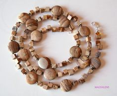 Picture Jasper Puffy Coins and sterling silver Necklace £28.00