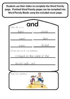 Word Family Sliders and Student Book