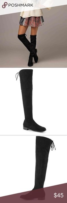 """UNISA ADIVAN OVER THE KNEE BOOT BLACK SIZE 8 New without box and tag  Jump-start your your wardrobe with the Adivan over the knee boots from Unisa! Pair these stretchy boots with a skirt for a casual look that is right on trend.  Click here for Boot Measuring Guide.  Stretch faux suede upper Pull-on with topline Almond toe Fabric lining Cushioned footbed Approx. 21½"""" shaft height Approx. 13"""" calf circumference 1"""" stacked block heel Synthetic sole Imported Unisa Shoes Over the Knee Boots"""