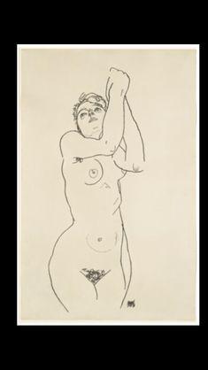 """Egon Schiele -"""" Stehender Akt mit erhobenen Armen (Standing nude with raised arms """", 1918 - Black crayon on paper - 49,6 x 31,7 cm"""