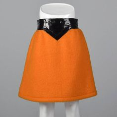 9c2232cc35c Iconic Pierre Cardin 1960s Space Age Mod Orange Mohair Mini Skirt with Wide  Black Vinyl Waistband