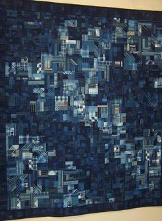 Indigo plaids, Wa category (traditional Japanese fabrics.   Tokyo quilt festival 2006