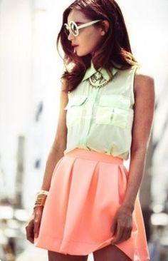 spring green collar tank tunic+ coral scuba skirt+ spring green circular sunglasses