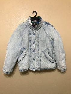 vintage heavy lined acid wash jacket. denim jacket. by june22nd