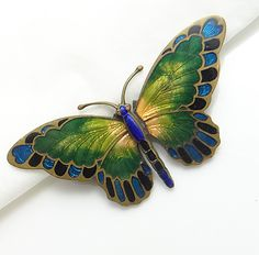 Enamel Guilloche Butterfly Pin, Signed Gesch Rak