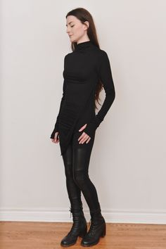 Image of High Cowl Neck Side Draped Longsleeve Tunic